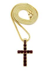 14k Gold Small Micro Ruby Red Diamond Cz Stone Cross Pendant