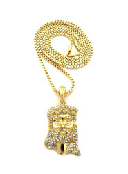 14k Gold Diamond Cz Beard Jesus Pendant Chain