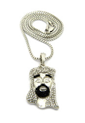 Diamond Cz Beard Jesus Pendant w/ Chain Silver Black