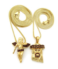 14k Hip Hop Jesus Gold Winged Cherub Pendant Chains Set Ruby
