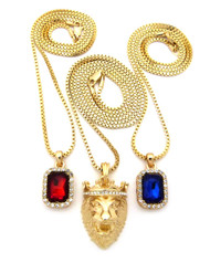 Lion Of Judah Micro Diamond Cz Blue Red Onyx Hip Hop Pendant