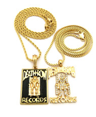Death Row Inspired Diamond Cz Hip Hop Pendant w/ Rope Chain