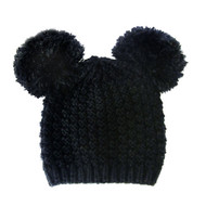 Fuzzy Cat Mouse Pom Pom Ball Beanie Hat Black