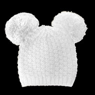 Fuzzy Cat Mouse Pom Pom Ball Beanie Hat White