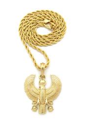 Falcon of Tutankhamun African Ankh Pendant Gold Rope Chain