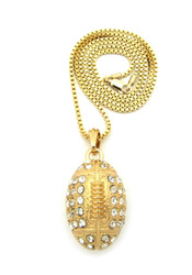 Diamond Cz Iced Out Football Season Pendant Chain Gold