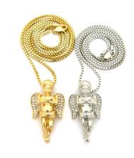 Praying Angel Cherub Pendant Box Link Chain Gold Silver