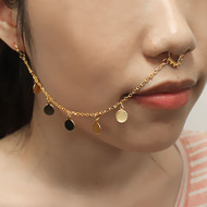 Long Hook Nose To Ear Chain Non Pierced Nose Ring Clip On