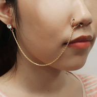 Nose To Ear Chain Non Pierced Nose Ring Clip On Single Chain