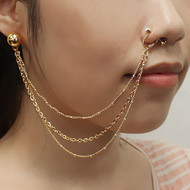 Nose To Ear Chain Non Pierced Nose Ring Clip On Triple Chain