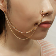 Nose To Ear Chain Non Pierced Nose Ring Clip On Triple Cz Chain