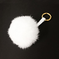 Ladies Pom Pom Gold Tip Key Chain White