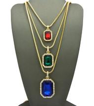 Men's Hip Hop Red Green Blue Diamond Cz Onyx Shield Chains