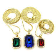Men's Hip Hop Red Green Blue Diamond Cz Onyx Shield Chains