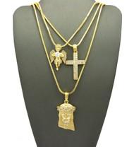 Mens High Class Diamond Cz Jesus Cross Angel Cherub Pendants