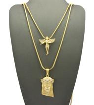 High Class Diamond Cz Jesus Angel Cherub Pendant Snake Chain
