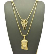 High Class Diamond Cz Jesus Crowned Angel Cherub Pendant