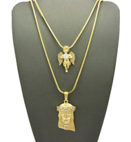 High Class Simulated Diamond Jesus Angel Cherub Pendant Set
