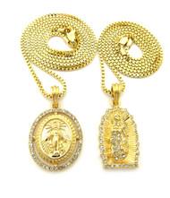 14k Gold GP Virgin Mother Mary Diamond Cz Pendant Chain