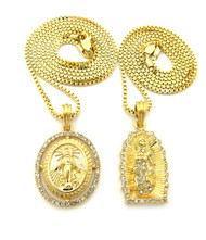 14k Gold GP Virgin Mother Mary Diamond Cz Pendant Chain