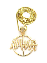 NWA Target Hip Hop Pendant Chain Necklace Gold