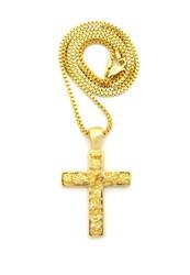 Men's Nugget Cross Pendant Chain 14k Gold