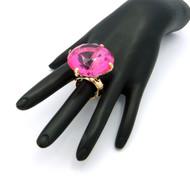 Ladies Big Stone Bling Bling Adjustable Stretch Ring Pink Gold