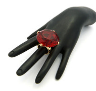 Ladies Big Stone Bling Bling Adjustable Stretch Ring Red Gold