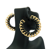 Ladies Black Strap Cuban Cut BBW Bling Bling Earrings
