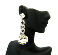 Ladies Chandelier Big Stone Cuban Link Bling Earrings Silver