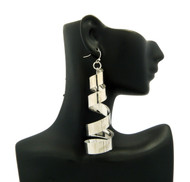 Ladies Twisted Sexy Dangling Bling Earrings Silver