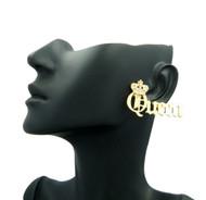 Ladies Queen Crown Diamond Cz Bling Earrings Gold