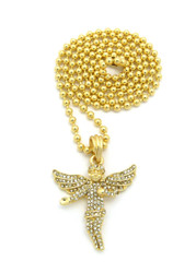 Diamond Cz Stone Covered Winged Angel Pendant Ball Chain Gold