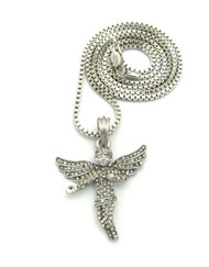 Diamond Cz Stone Covered Winged Angel Pendant Silver Box Chain