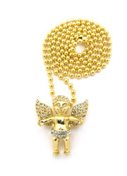 Open Arms Diamond Cz Angel Cherub Pendant Ball Chain Gold