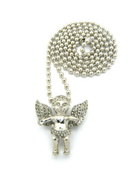 Open Arms Diamond Cz Angel Cherub Pendant Ball Chain Silver