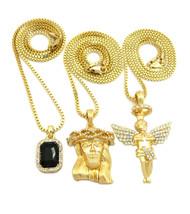 Iced Out Diamond Cz Halo Angel Jesus Black Onyx Pendant w/ Chain