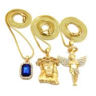 Iced Out Diamond Cz Halo Angel Jesus Blue Onyx Pendant w/ Chain