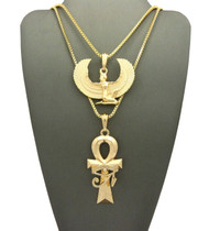 Ancient Egyptian Goddess Isis Ankh Eye Of Ra Cross Necklace