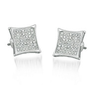 Mens 1/5 cttw Diamond Kite 9.5mm 10K White Gold Earrings