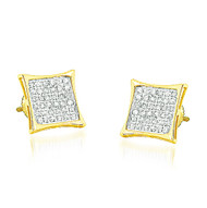 Mens 10K Yellow Gold 1/5 cttw Diamond Kite Earrings 8.28mm Wide