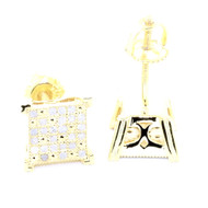 Mens Yellow Gold Iced Out 1/5 cttw Diamond Square Bling Earrings