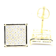 Mens Bling Bling Yellow Gold Square 8.84mm Diamond Earrings