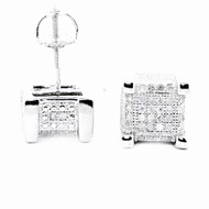 Mens Hip Hop 0.3CTTW Diamond Cube Earrings Silver Bling Earrings