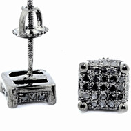 Mens Hip Hop Black Diamond Cube 0.38CTTW Bling Earrings