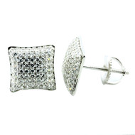 Iced Out Fashion Earrings in Silver 9.19mm CZ Pave Set