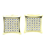 Mens Iced Out Yellow Silver 11.5mm Micro Pave Cz Earrings