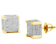 Mens Hip Hop Yellow Silver 8mm Pave Set Cz Earrings