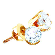 Mens 1/5 cttw Gold Diamond Stud Earrings Back Basket Setting