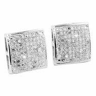 Mens Bling 0.6cttw Diamond Domed Micro Pave Earrings